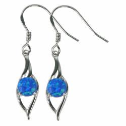 Blå Bølger - Opal øreringe med blå opal sten, 925 Sterling sølv og rhodium belægning