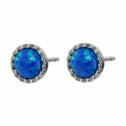 Cirkel - Opal øreringe med blå opal sten, 925 Sterling sølv og rhodium belægning