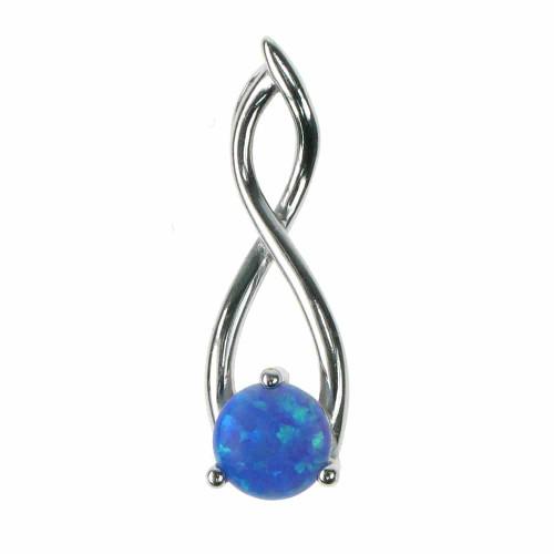 Twister - Opal smykke vedhæng med blå opal sten, 925 Sterling sølv & rhodium belægning