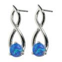 Twister - Opal øreringe med blå opal sten, 925 Sterling sølv og rhodium belægning