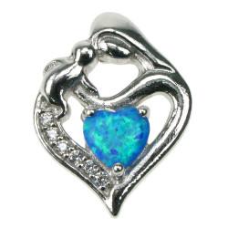 Mor & Barn (Mørk) - Opal smykke vedhæng med blå opal sten, 925 Sterling sølv, zirkonia & rhodium belægning