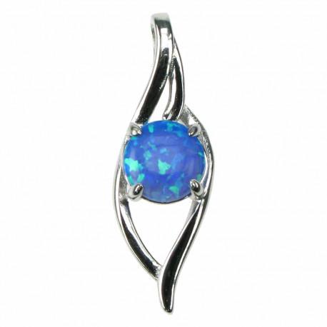 Blå Bølger - Opal smykke vedhæng med blå opal sten, 925 Sterling sølv & rhodium belægning