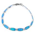 Aphrodite - Opal armbånd med 925 Sterling sølv, blå opal sten og rhodium belægning