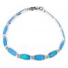 Opal armbånd med 925 Sterling sølv, blå opal sten og rhodium belægning