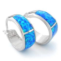 Mykonos - Opal øreringe med blå opal sten, 925 Sterling sølv og rhodium belægning