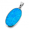 Korfu - Stort opal smykke vedhæng med blå opal sten, 925 Sterling sølv & rhodium belægning