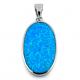 Korfu - Opal smykke vedhæng med blå opal sten, 925 Sterling sølv & rhodium belægning