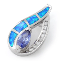 Marquise - Opal smykke vedhæng med blå opal sten, 925 Sterling sølv & rhodium belægning