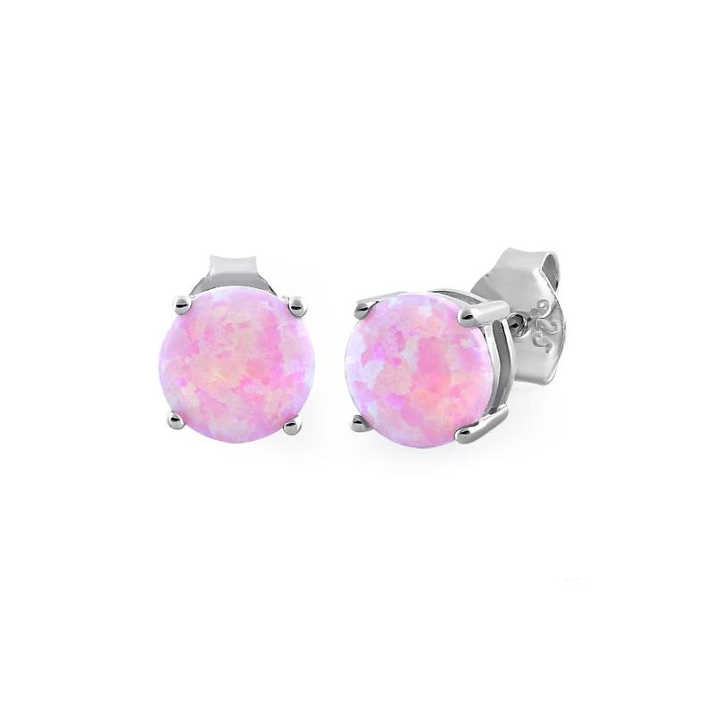 Pink opal øreringe / ørestikker med 925 Sterling sølv & rhodium belægning