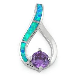 Samos - Opal smykke vedhæng med blå opal sten, 925 Sterling sølv & rhodium belægning