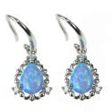 Dråbe - Opal øreringe med blå opal sten, 925 Sterling sølv, zirkonia og rhodium belægning