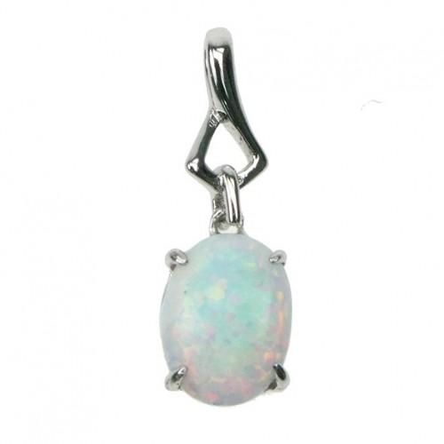 Oval - Sølv smykke halskæde med hvid sne opal sten, 925 Sterling sølv & rhodium belægning