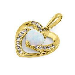 Hjerte - Solid 14K guldsmykke vedhæng med hvid opal sten og zirkonia