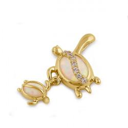 Skildpadde mor og barn - Solid 14K guldsmykke vedhæng med hvid opal sten og zirkonia