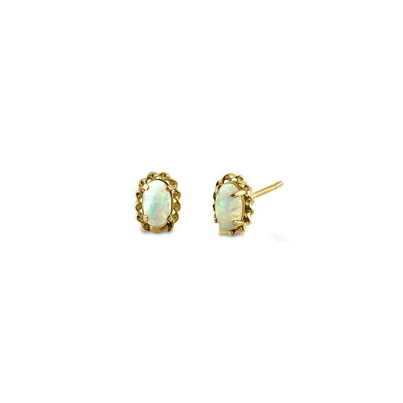 Glorie - Massiv 14K guldsmykke vedhæng med hvid opal sten og zirkonia