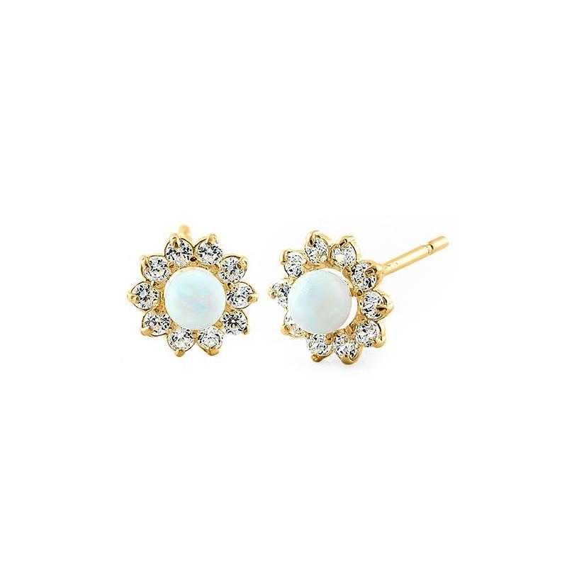 Rund - Massiv 14K guldsmykke øreringe hvid opal sten og zirkonia