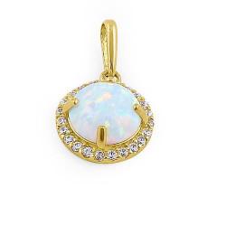 Halo - Solid 14K guldsmykke vedhæng med hvid opal sten og zirkonia