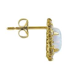 Victoria - Massiv 14K guldsmykke øreringe hvid opal sten og zirkonia