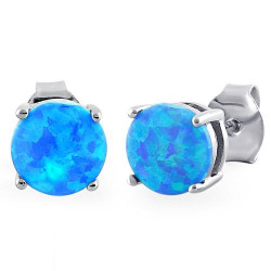 Paros opal øreringe / ørestikker med 925 Sterling sølv & rhodium belægning