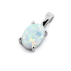 Naxos - Opal smykke vedhæng med hvid sne opal sten, 925 Sterling sølv & rhodium belægning