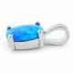 Ikaria - Opal smykke vedhæng med blå opal sten, 925 Sterling sølv & rhodium belægning