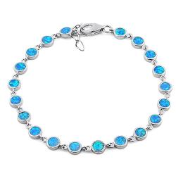 Kefalonia - Opal armbånd med 925 Sterling sølv, blå opal sten og rhodium belægning