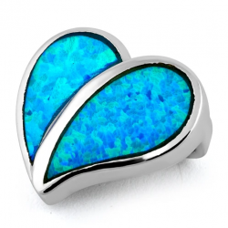 Lesbos - Opal smykke vedhæng med blå opal sten, 925 Sterling sølv & rhodium belægning