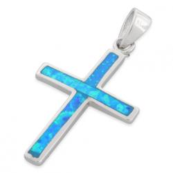 Kors - Opal smykke vedhæng med blå opal sten, 925 Sterling sølv & rhodium belægning