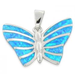 Sommerfugl - Opal smykke vedhæng med blå opal sten, 925 Sterling sølv & rhodium belægning