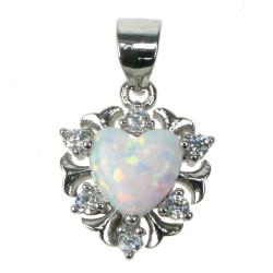 Sne opal hjerte - Opal smykke vedhæng med hvid sne opal sten, 925 Sterling sølv, zirkonia & rhodium belægning
