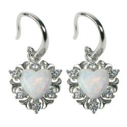 Sne opal hjerte - Opal øreringe med hvid sne opal sten, 925 Sterling sølv, zirkonia & rhodium belægning