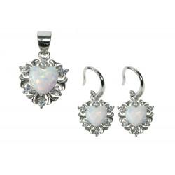 Sne opal hjerte smykkesæt med øreringe + vedhæng med hvid sne opal sten, 925 Sterling sølv, zirkonia & rhodium belægning