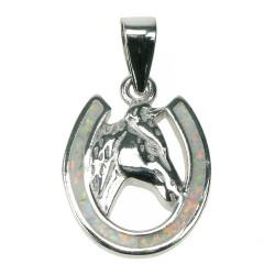 Hestesko - Opal smykke vedhæng med hvid sne opal sten, 925 Sterling sølv & rhodium belægning