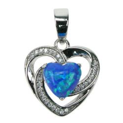Havblå opal hjerte - Opal smykke vedhæng med blå opal sten, 925 Sterling sølv, zirkonia & rhodium belægning