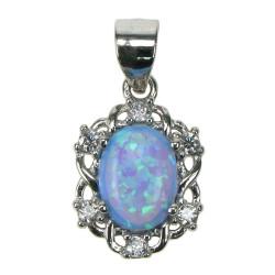 Himmelblå oval - Opal smykke vedhæng med blå opal sten, 925 Sterling sølv, zirkonia & rhodium belægning