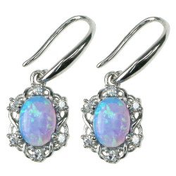 Himmelblå Oval - opal øreringe med 925 Sterling sølv, zirkonia & rhodium belægning