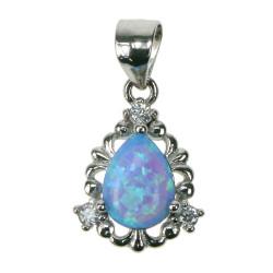 Dråbe - Opal smykke vedhæng med blå opal sten, 925 Sterling sølv, zirkonia & rhodium belægning