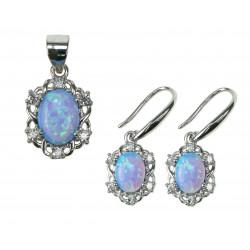 Himmelblå Oval - Opal Smykkesæt med øreringe og vedhæng med blå opal sten, 925 Sterling sølv, zirkonia & rhodium belægning