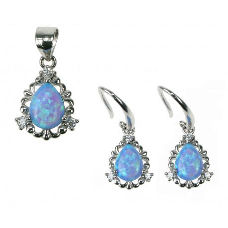 Dråbe - Opal Smykkesæt med øreringe og vedhæng med blå opal sten, 925 Sterling sølv, zirkonia & rhodium belægning