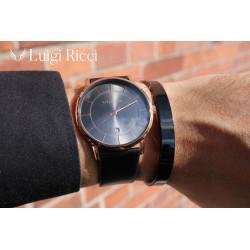 Luigi Ricci Eleganza Roma Classica - Sort unisex ur med rosa guld og læder rem
