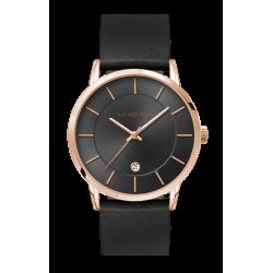 Luigi Ricci Roma Classica - Sort unisex ur med rosa guld og læder rem