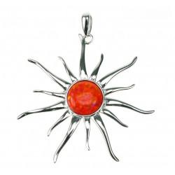 Orange Sol - Opal smykke vedhæng med orange ild opal sten, 925 Sterling sølv & rhodium belægning
