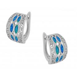 Hellas - Opal øreringe med blå opal sten, 925 Sterling sølv & rhodium belægning
