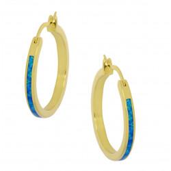 Aphrodite - Opal øreringe med blå opal sten, 925 Sterling sølv & guld belægning