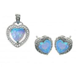 Hjerte - Blå Opal Smykkesæt med øreringe og vedhæng med blå sne opal sten, 925 Sterling sølv, zirkonia & rhodium belægning