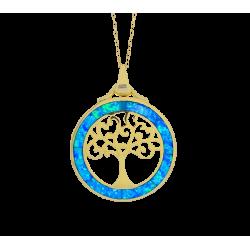 Livets Træ - Opal Livets Træ - Smykke halskæde vedhæng med blå opal sten, 925 Sterling sølv & rhodium belægning