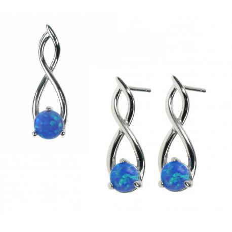 Blå Bølger - 925 Sterling sølv smykkesæt med vedhæng + øreringe med blå opal sten og rhodium belægning