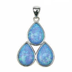 3 Dråber - Opal smykke vedhæng med blå opal sten, 925 Sterling sølv, zirkonia & rhodium belægning