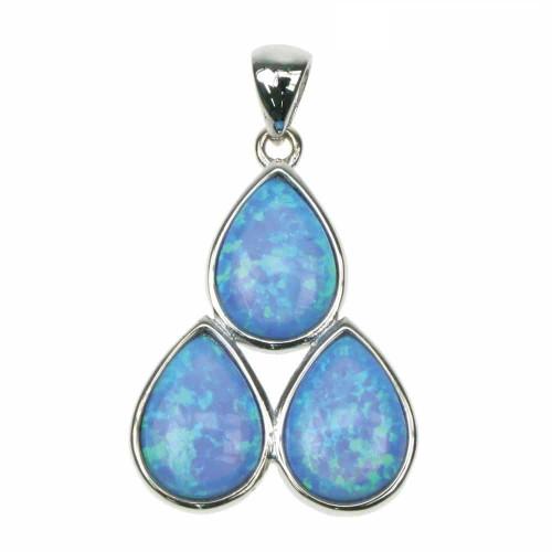 Hjerte - Opal smykke vedhæng med blå opal sten, 925 Sterling sølv, zirkonia & rhodium belægning