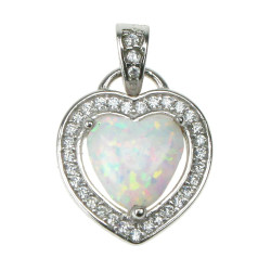 Hjerte - Sølv smykke halskæde vedhæng med hvid sne opal sten, 925 Sterling sølv, zirkonia & rhodium belægning